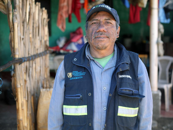 Florencio Hernandez stands in the courtyard of the home he built using money from his jobs working as an undocumented migrant in the U.S. Following his second deportation in 2008, he now works as a tour guide in the volcanic region near the village of San Jose Calderas.