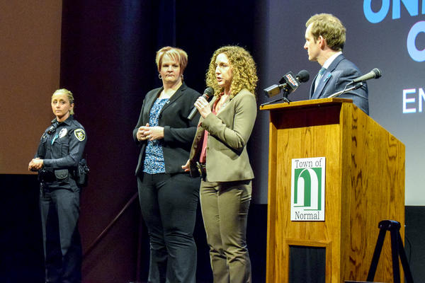 Local law enforcement and prosecutors speak during a Q&A on Wednesday, April 4, 2018, at the Normal Theater. They premiered a new PSA focused on sexual assault victim-blaming.