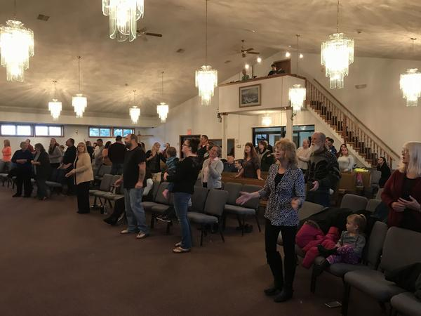 Parishioners worship at the Lighthouse Mexico Church of God in late 2017.