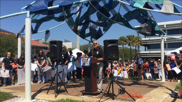 St. Petersburg Mayor Rick Kriseman at a March for Our LIves rally in St. Petersburg in March. At the rally, Kriseman suggest drafting a plan to change how the city invests its money in companies that sell and make semiautomatic weapons.