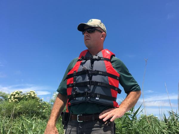 Todd Baker of the Louisiana Department of Wildlife and Fisheries surveys a stand of roseau cane from the bow of a boat near the mouth of the Mississippi River.