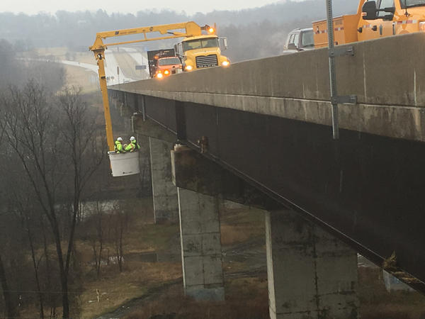 """They call this kind of crane a """"snooper crane."""" It is used for inspecting the underside of bridges but, in a pinch, can be a valuable tool for a goat extraction."""