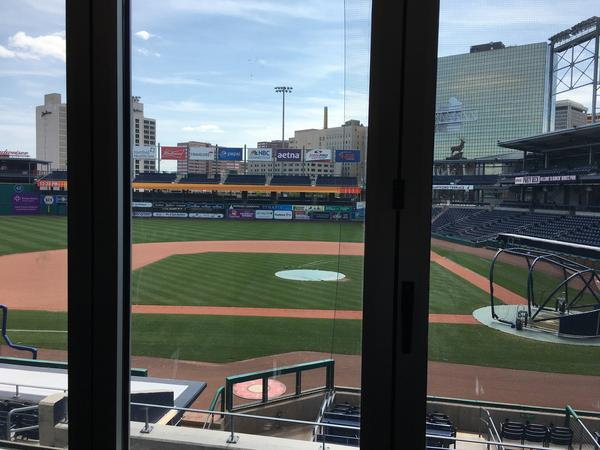 The view of the field from the Press Box at Dunkin' Donuts Park in Hartford, where the Yard Goats play.
