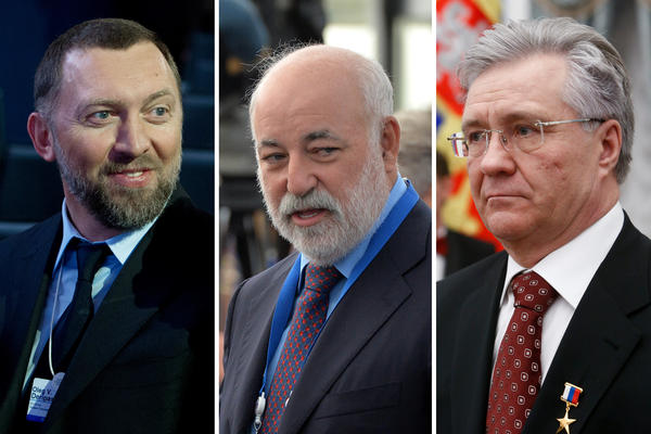 (Left) Oleg Deripaska, chairman of the supervisory board of the Basic Element company,<strong> </strong>in 2013. (Center) Viktor Vekselberg, founder and chairman of the board of directors of the Renova Group, in 2013. (Right) Vladimir Bogdanov, director general of Surgutneftegas oil company in 2016.