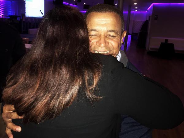 Mayor Pedro Juan Garcia Figueroa hugs CTBPT United For PR organizer Lisette Colon during his November visit to Bridgeport.