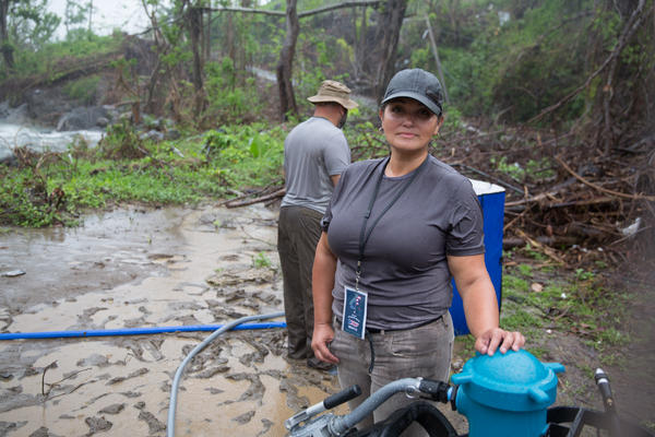 """Veronica Montalvo was born in Connecticut and moved to San Juan earlier this year. In addition to her work with the """"water dogs,"""" she's been delivering food and helping people across the island connect with family."""