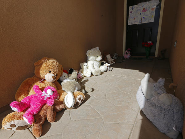Toys left by neighbors for the Turpin's children sit on the front of the home of David and Louise Turpin in Perris, Calif., on Jan. 24, 2018. The Turpins are accused of abusing their 13 children, ranging from 2 to 29, before they were rescued on Jan. 14 from their home in Perris.