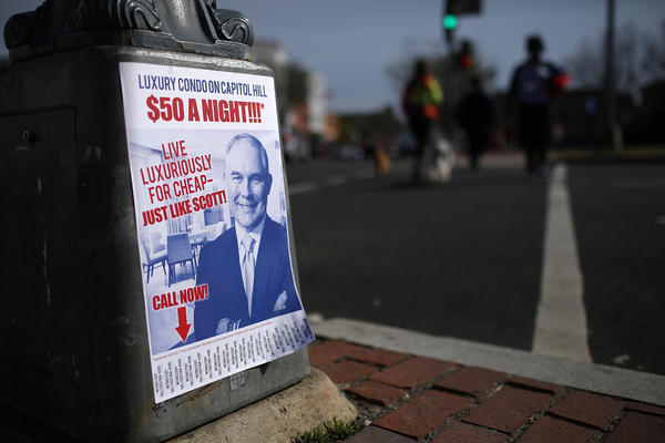 Satirical fliers posted around the Capitol Hill neighborhood of Washington, DC poke fun at EPA Administrator Scott Pruitt. Pruitt rented a room in a condo from a lobbyist for $50 a night, among several controversies that have engulfed Pruitt.