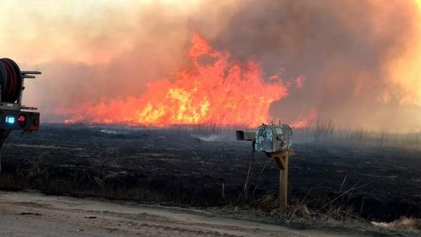 A large grassfire burned more than 6,000 acres in Reno County in March 2017.