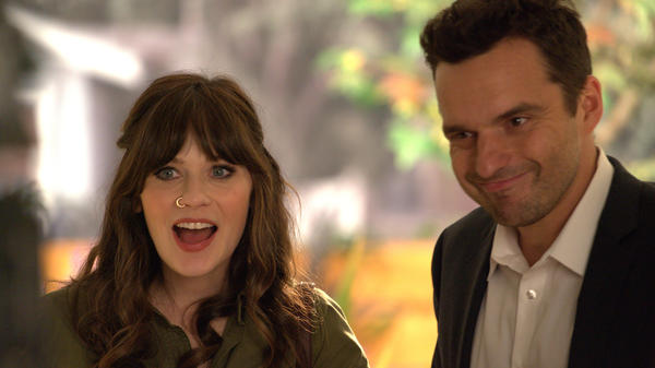 "Zooey Deschanel and Jake Johnson in the ""About Three Years Later"" season seven premiere episode of <em>New Girl</em>."