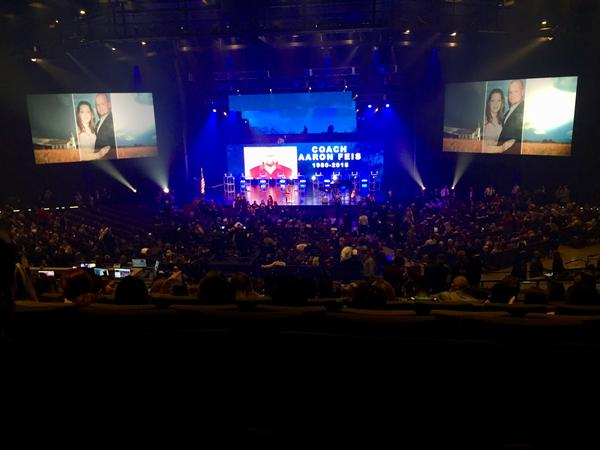 Hundreds of people filled Church of the Glades in Coral Springs to honor slain Stoneman Douglas High School assistant football coach Aaron Feis on Feb. 22, 2018.