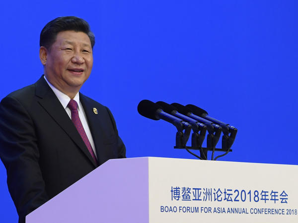 In this photo released by Xinhua News Agency, Chinese President Xi Jinping delivers his opening speech at the Boao Forum for Asia Annual Conference in Boao in south China's Hainan province, on Tuesday.