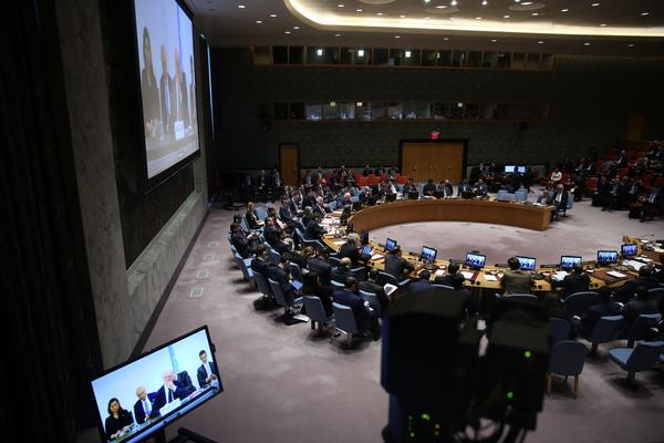 U.N. Security Council members meet about the suspected chemical attacks in Douma, Syria, at United Nations Headquarters in New York on Tuesday.
