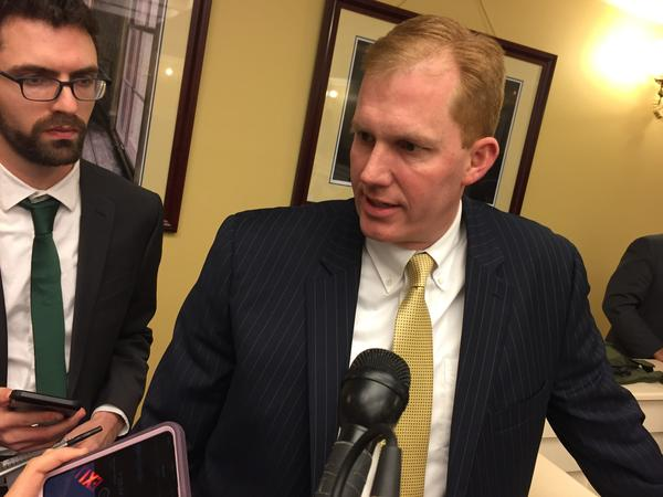 Rep. Ryan Smith (R-Bidwell) talks to reporters following a House Finance Committee meeting on Tuesday.