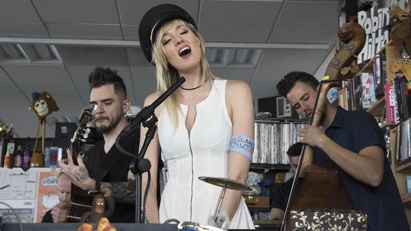 Jenny and the Mexicats performs a Tiny Desk Concert on Feb. 28, 2018 (Jenna Sterner/NPR).