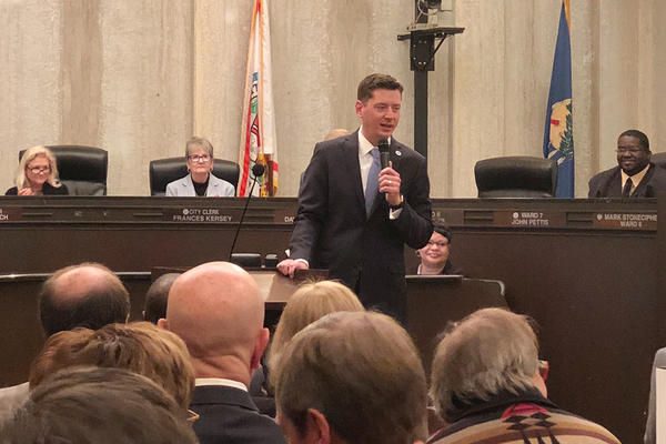 Oklahoma City Mayor David Holt addresses the audience before his first City Council Meeting at City Hall. Holt was sworn in to the office of OKC Mayor on April 10, 2018.