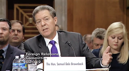 Gov. Sam Brownback answered questions from members of the U.S. Senate Foreign Relations Committee for his nomination as ambassador for international religious freedom during a confirmation hearing Wednesday in Washington, D.C.