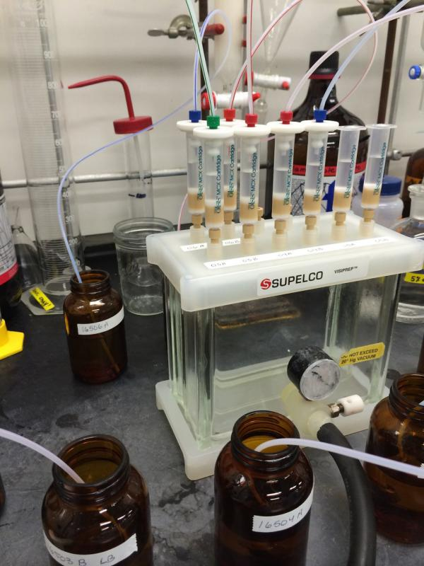 In Viviane Yargeau's lab at McGill University in Montreal, wastewater samples pass through cartridges that retain drug traces for chemical analysis. Based on her previous work measuring drug use from sewage, Statistics Canada has tapped Yargeau's group to run the country's pilot testing.