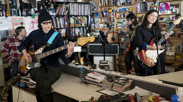 The Breeders perform a Tiny Desk Concert on March 7, 2018 (Eslah Attar/NPR).
