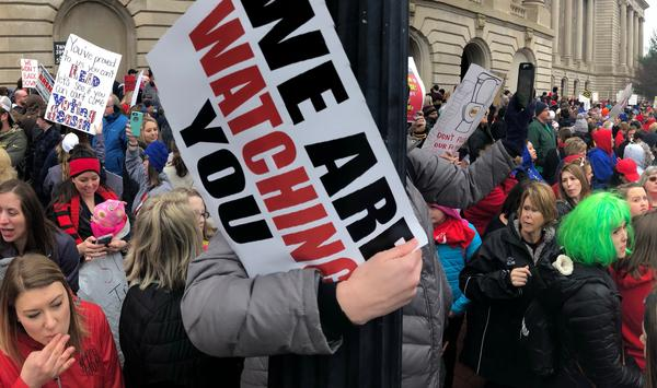 Protesters swarm the Kentucky Capitol to protest pension reforms and education budget cuts on April 2, 2018.