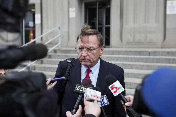 Ed Dowd, defense attorney for Gov. Eric Greitens, speaks to reporters on March 26, outside the Carnahan Courthouse in downtown St. Louis.  After a judge's order on Tuesday, he can't conduct press conferences like this until after a jury is seated.
