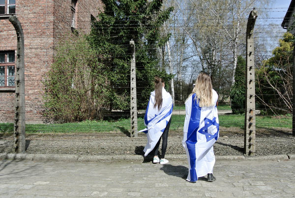 Young participants in Thursday's March of the Living at the former Nazi extermination camp, Auschwitz-Birkenau.