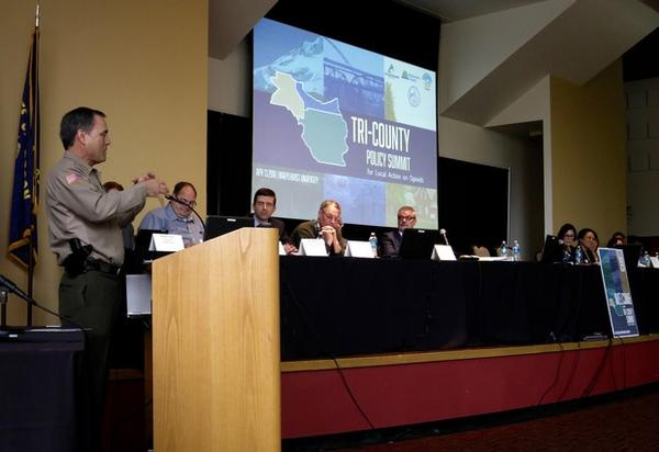 <p>Clackamas County Sheriff, Craig Roberts, talks to the tri-county summit on opioid abuse.</p>