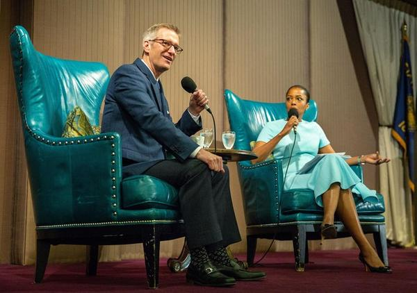 <p>Ted Wheeler speaking at the second of two state of the city addresses April 13, 2018.</p>