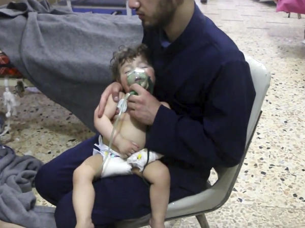 A chemical attack by the Syrian government on citizens in onetime rebel stronghold Douma reportedly killed dozens, including women and children, and injured others. This image made from video released by the Syrian Civil Defense has been authenticated based on its contents and other AP reporting.