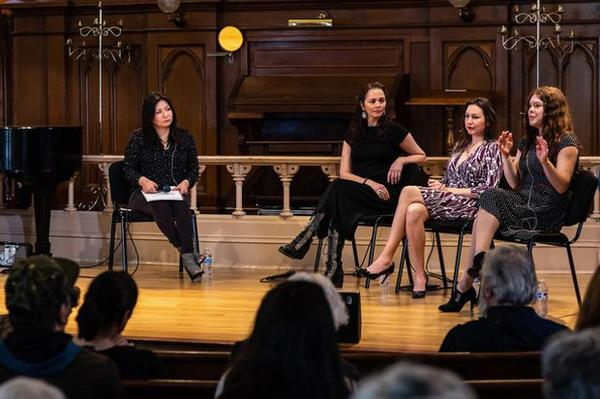 <p>Moderator Jacqueline Keeler (left) leads a conversation with playwrights Larissa FastHorse, DeLanna Studi and Mary Kathryn Nagle during an event sponsored by Advance Gender Equity in the Arts at the Old Church in Portland.</p>