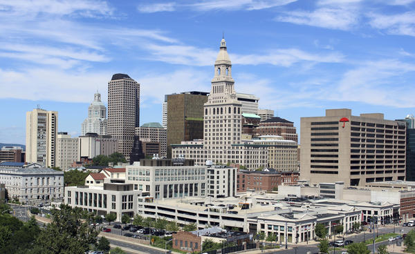 The skyline of downtown Hartford, Conn., Wednesday, Aug. 23, 2017.