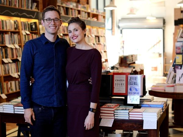 Mike and Hilary Gustafson in their bookstore, Literati.