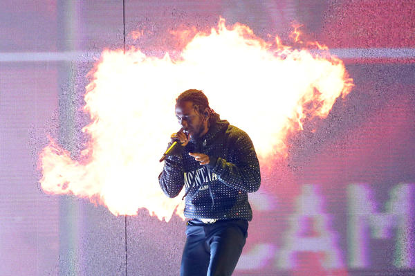 Kendrick Lamar, whose album <em>DAMN. </em>won this year's Pulitzer Prize for music, performs in London earlier this year.