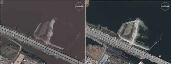 Satellite images show the San Jacinto Waste Pits near Houston on Sept. 2, 2017 (left) when the site was still flooded after Hurricane Harvey and on Jan. 24, 2018 after the waters had receded.