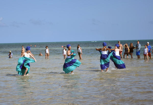 Ife-Ile Afro-Cuban Dance Company dancers performing during the South Florida National Water Dance.