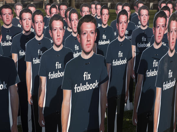 Cardboard cutouts of Facebook founder and CEO Mark Zuckerberg stand outside the U.S. Capitol in Washington as he testified before a Senate panel last week.