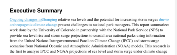 Drafts of Caffrey's report show that the National Park Service has tried to delete mentions of the human role in climate change.