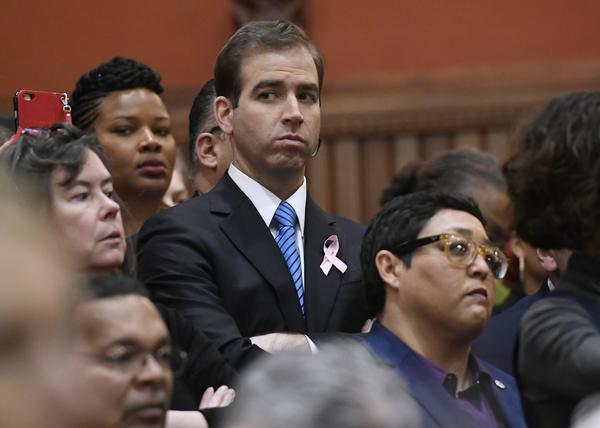 Hartford Mayor Luke Bronin listens to Gov. Dannel Malloy's State of the State address during opening session at the Capitol in February in Hartford.