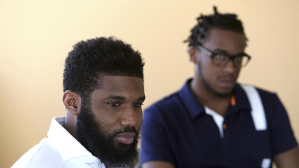 Rashon Nelson (left) and Donte Robinson say they hope their arrest at a Philadelphia Starbucks one week ago helps elicit change and doesn't happen to anyone else. A video of their arrest, viewed 11 million times, has sparked outrage and protest.