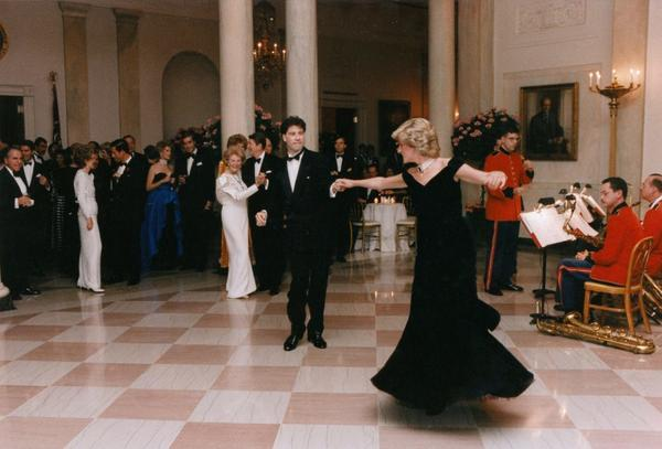 Actor John Travolta dances with Princess Diana during the Reagans' state dinner in November 1985.