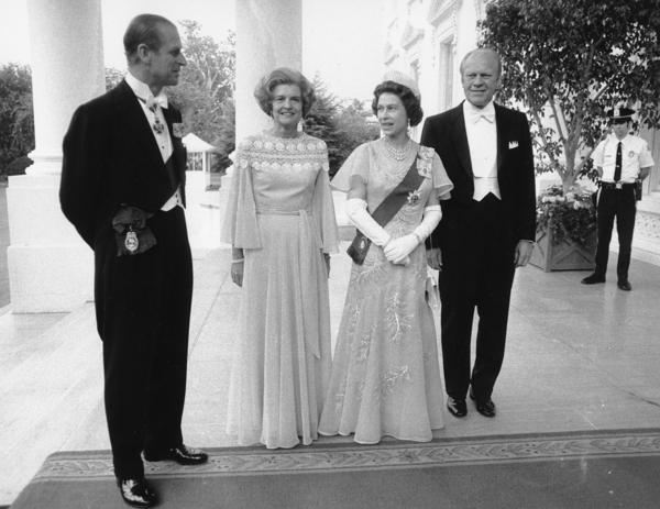 President Ford and first lady Betty Ford pose with Queen Elizabeth II and Prince Philip outside the North Portico of the White House on July 7, 1976.