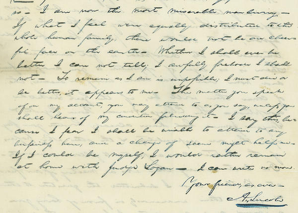 a letter in which Lincoln laments a break up with his eventual wife, Mary Todd