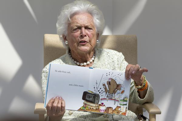 """Former first lady Barbara Bush reads """"The Best Mouse Cookie"""" by Laura Numeroff, Thursday, Aug. 22, 2013, at the Barbara Bush Children's Hospital at Maine Medical Center in Portland, Maine."""