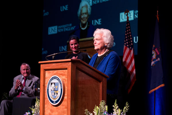 Bush at the 2013 distinguished lecture at the University of New England