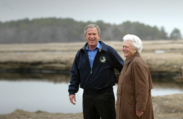 Barbara Bush with son, former President George W. Bush, on Earth Day 2004 at the Wells National Estuarine Research Reserve in Wells, Maine