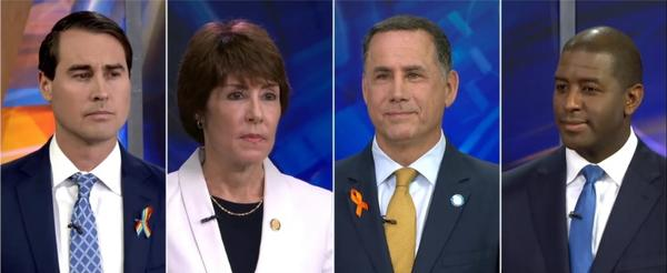 (left to right) Orlando businessman Chris King, former North Florida Congresswoman Gwen Graham, former Miami Beach Mayor Philip Levine, andTallahassee Mayor Andrew Gillum met in Tampa for their first gubernatorial debate.