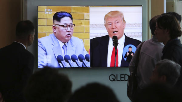 "President Trump tweeted of North Korean leader Kim Jong Un's announcement: ""Progress being made for all!"" File footage of the leaders is broadcast at Seoul Railway Station in South Korea on Saturday."