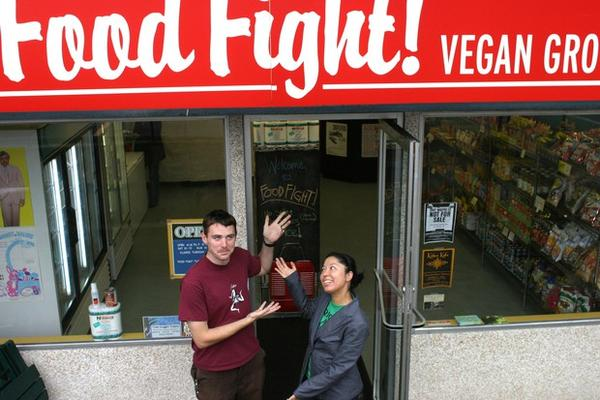 <p>Chad Miller and Emiko Badillo presenting their new grocery store, Food Fight, in 2003.</p>