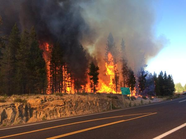 <p>The Sheridan fire near Sunriver, Oregon, started around 4:30 p.m. Tuesday.</p>