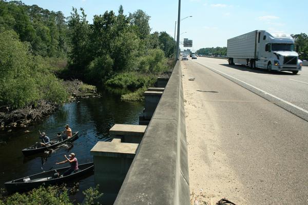 Trucks on Interstate 4 zoom overhead as expedition members prepare to cross the Wildlife Corridor via Reedy Creek.
